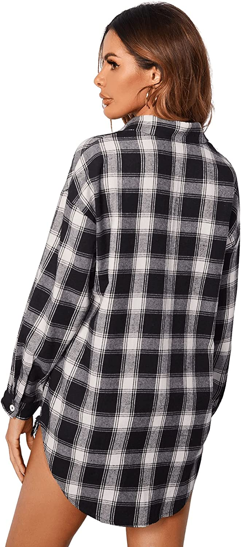 SheIn Women's Long Sleeve Collar Long Button Down Plaid Shirt Work Blouse Tops