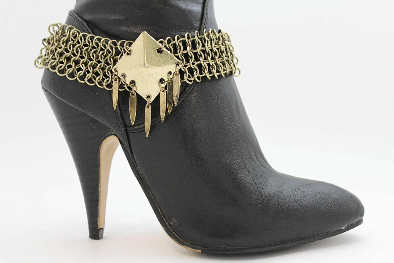 Women Jewelry Boot Bracelet Antique Gold Metal Chains Anklet Shoe Charm DS-4315