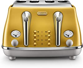 De'Longhi | Icona Capitals 4 Slice Toaster | CTOC4003Y | Authentic Italian Design Toaster With Heating, Defrosting, Bagel ...