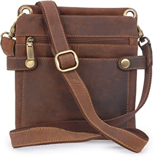 Visconti Small Messenger Bag - Hunter Leather - Multi-Purpose/Slim/Neat/iPad/Kindle/Leisure- 18511- NEO (S) - Oil Tan