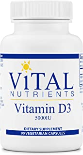 Vital Nutrients - Vitamin D3 - Supports Calcium Absorption and Bone Health - 90 Vegetarian Capsules per Bottle - 5,000 IU