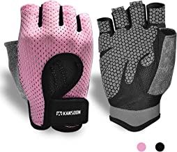 Breathable WorkoutGloves,KnuckleWeightLiftingFingerless GymExercise GloveswithCurvedOpenBack,forPowerlifting,...