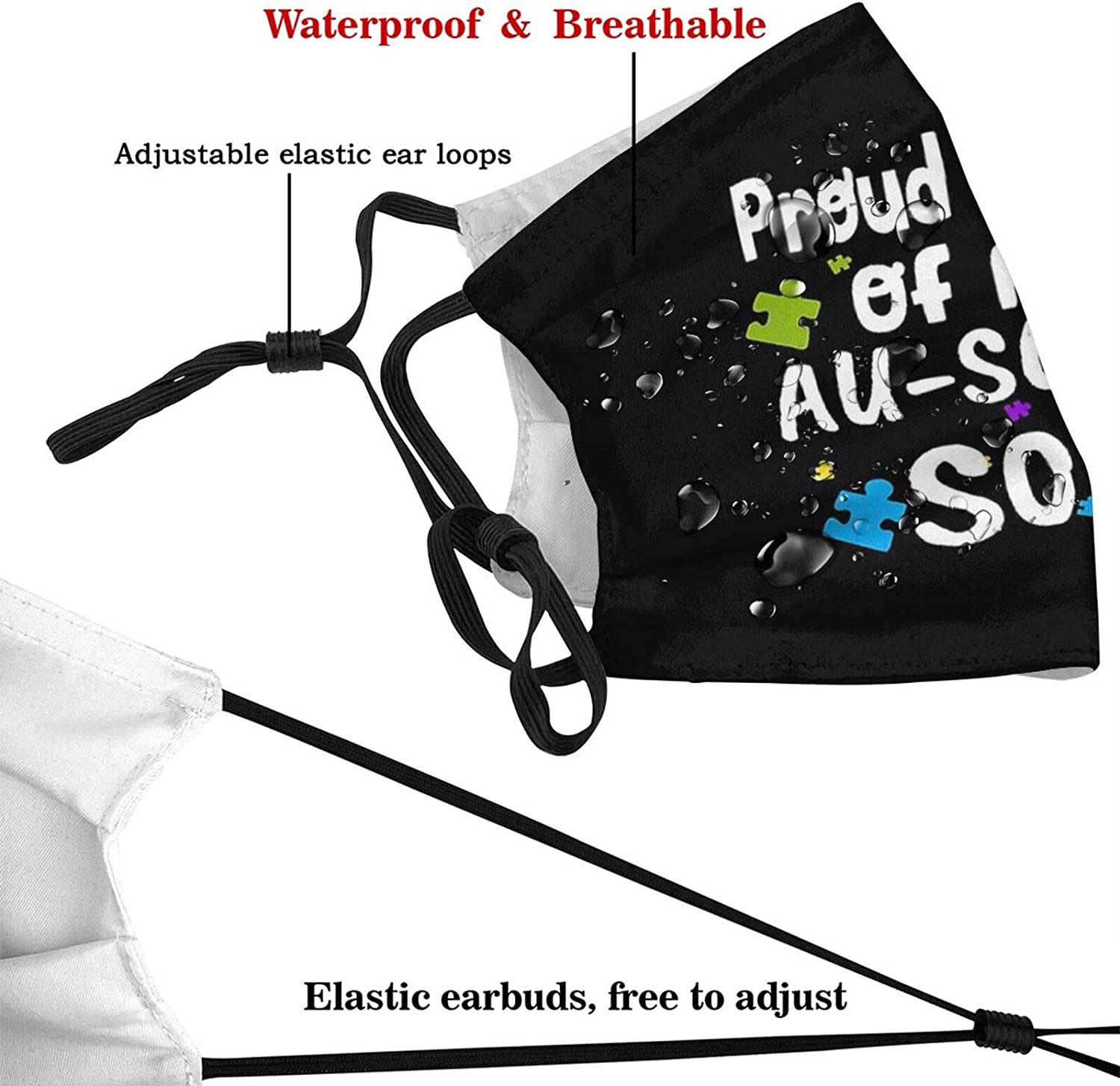 Proud Mama Of An Au-Some Son Face Mask Adjustable Reusablefor Unisex Bandana Dustproof Fashion Scarf (With 2 Filters)