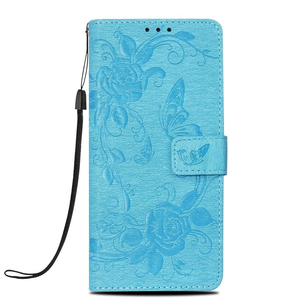 カブ動物通りiPhone XsMax ケース ストラップ付 スマホケース 手帳型 可愛い 花柄 蝶柄 高級PU レザー カバー スタンド機能 傷つけ防止 保護ケース(ブルー)