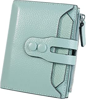 YALUXE Women's RFID Blocking Small Compact Leather Wallet Ladies Mini Purse with ID Window Light Green