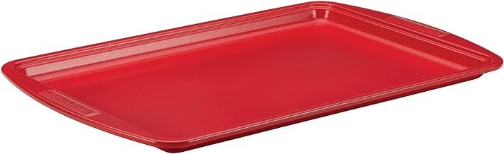 SilverStone Hybrid Ceramic Nonstick Bakeware, Steel Cookie Pan, 10-Inch x 15-Inch, Chili Red