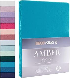 DecoKing – Collection Amber – Drap Housse, Drap de lit – 100% Coton de qualité Jersey – pour sommier tapissier – Blanc, C...
