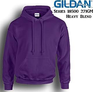 Gildan Purple Hoodie Heavy Blend Blank Plain Hooded Sweat Mens Pullover Shirt