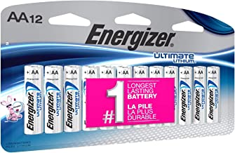 Energizer AA Lithium Batteries, World's Longest Lasting Double A Battery, Ultimate Lithium (12 Count)