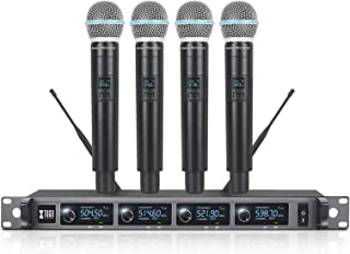 XTUGA A140 Wireless Microphone System, 4-Channel UHF Cordless Mic Set With Four Transmitter Mics, All Metal Build, Fixed F...