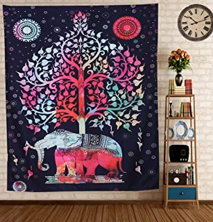 Poise3EHome 51X59 inch Hippie Tapestry Wall Hanging Black Mandala for Bedroom, College Dorm, Room Decor(Elephant, Forest)