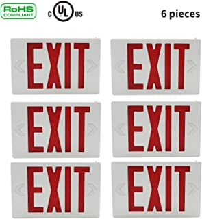 Ainfox 6 Pack LED Exit Sign Emergency Wall Light, Back -up Letter Cover (red/6pack)