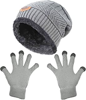 Womens Slouchy Beanie Gloves Set Skull Cap Touch Screen Mittens Winter Hat