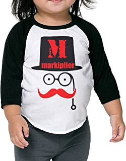 Toddler Cute Markiplier Warfstache Logo 100% Cotton 3/4 Sleeve Athletic Baseball Raglan Shirt