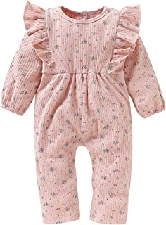 Camidy Baby Girl Toddler Sweet Floral Print Long Sleeve Ruffle Jumpsuit Bodysuit Outfit