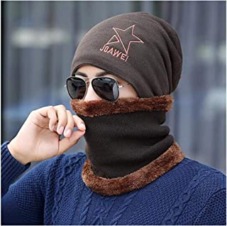 WYMAI Wool Hat Men's Winter Plus Velvet Thick Knit Hat Warm Hooded Cap Cotton Earmuffs Navy (hat + Collar) Simple and Practical Product (Color : Brown)