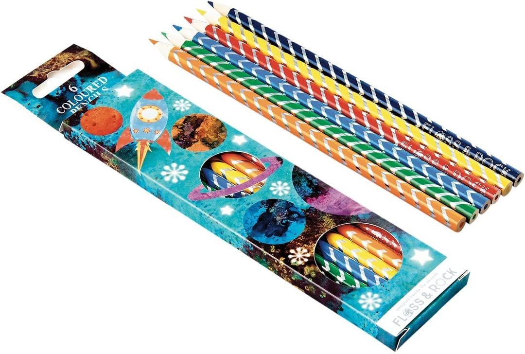 Blast Off Rocket Ship 6 Piece in Pencil Topics on TV Pack Assorted De Save money Colored