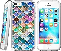 Colorful Mermaid Scales iPhone 5s 5 SE Case Clear, By Milostar Design TPU Clear Protective Shock-Proof Cover, Case for iPhone 5s 5 SE Colorful Mermaid Scales