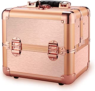 Ovonni Professional Portable Small Makeup Train Case, Artist Lockable Aluminum Cosmetic Organizer Storage Box with Compartments (Rosegold 1)