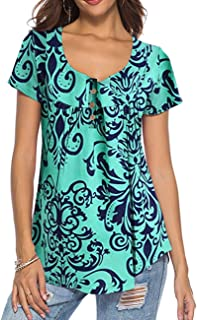 Jessica CC Women's Paisley Floral Print V Neck Tunic 3/4 Sleeve Blouse Shirt Tops