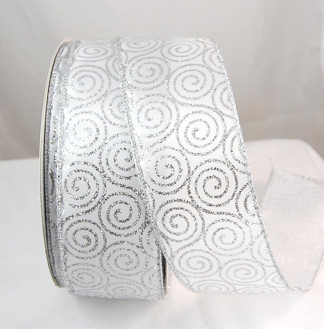 Reliant Ribbon Glitter Swirl Value Wired Edge Ribbon, 2-1/2 Inch X 50 Yards, Silver