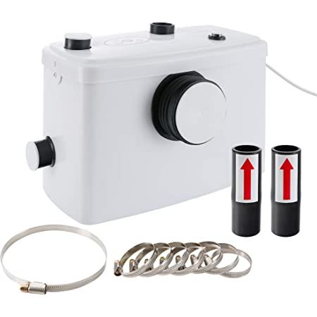 AREBOS Bomba Trituradora Sanitaria de Agua Residual Macerador   600W   Máximo rango de alimentación: 70 m   Flujo de entrada: 100 l/min