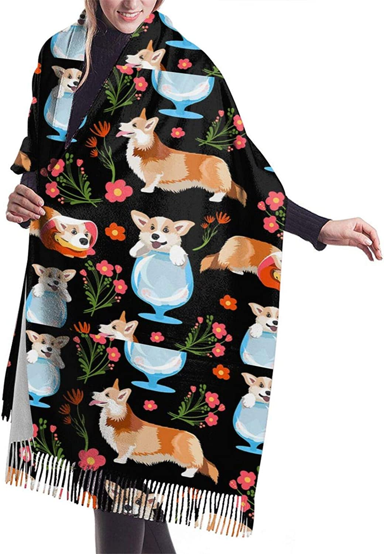 Cute Corgi Cashmere Feel Scarf Lightweight Soft Scarfs For Boys Girls Creative Warm Cold Weather Blanket Scarf