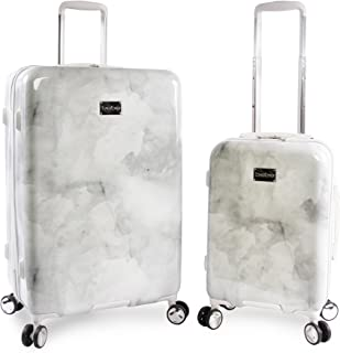 Women's Lilah 2 Piece Set Suitcase with Spinner Wheels, Silver Marble