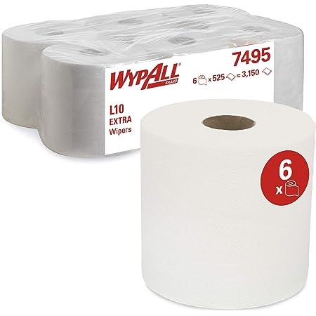 Essuyeurs WypAll L10 Extra - Dévidage central Roll Control 7495 - 6 rouleaux de 525 formats, 1 épaisseur, blancs