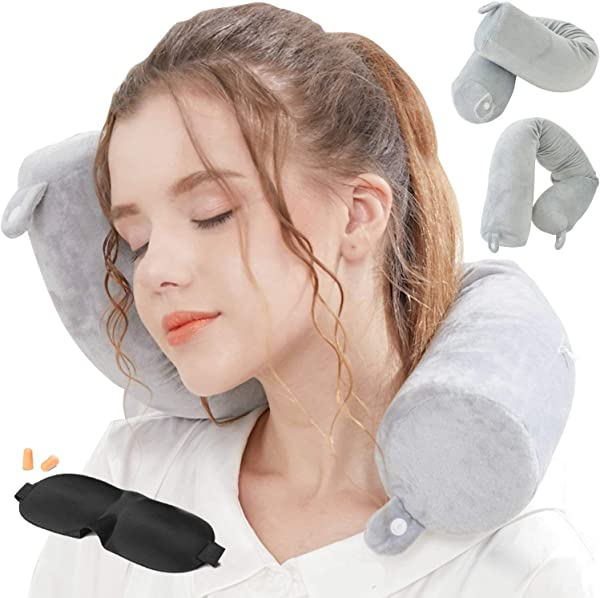 Lucear Twist Memory Foam Travel Pillow Neck Chin Lumbar Leg Support Traveling On Airplane Bus Train At Home Grey Memory Foam