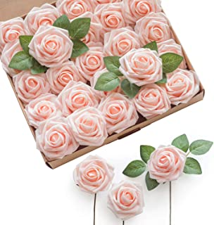 Ling's moment Artificial Flowers Blush Roses 25pcs Real Looking Fake Roses w/Stem for DIY Wedding Bouquets Centerpieces Br...