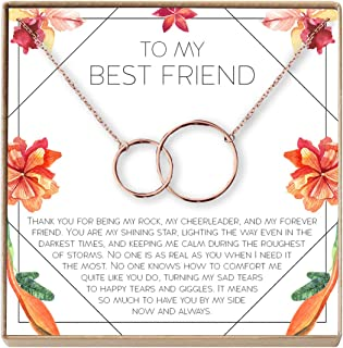 Necklace: BFF, Long Distance, Friends Forever, 2 Interlocking Circles