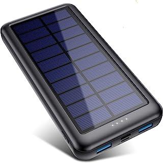 QTshine Power Bank Solare 26800Amh, [Type-C Veloce Ingressi] Caricabatterie Portatile Solare,Batteria Portatile con 2 USB ...