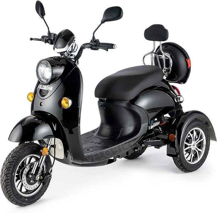 Scooter elettrico 3 ruote per anziani e disabili seniors allarme 650w nero veleco zt63 TMEC506