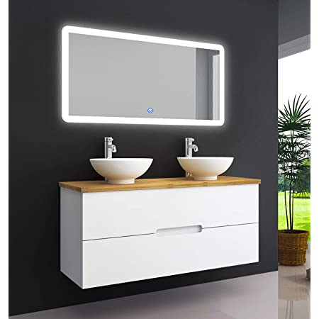 Oimex Tambus 120 Cm Bamboo Real Wood Designer Bathroom Furniture Set Vanity Unit With 2 Sinks With Mirror High Gloss White 2 Drawers Size Wash Basin With Basin Only Amazon De Home Kitchen