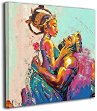 Arnold Glenn African American King and Queen Crown Rose Love Afro Picture Paintings Canvas Wall Art Prints Modern Decorative Giclee Artwork Wall Decor-Wood Frame (30