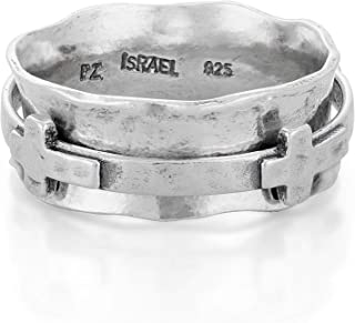 Sterling Silver Spinner Ring | Cross Spinner by Paz Creations | 925 Silver or Two-Tone | Meditation Ring | Bohemian Jewelr...