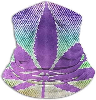 Marijuana Weed Cannabis Pot Leaf Neck Gaiter Warmer Windproof Ski Mask Dust - Free Ear Warmers Headband Heavyweight Anti-UV Fleece Neck Warmer For Winter Outdoor Sports