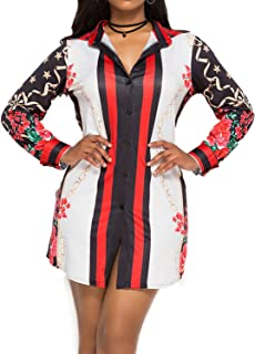 Enggras Women's Long Sleeve Knot Front Hi-lo Boho Ethnic Floral Print Button Down Shirts