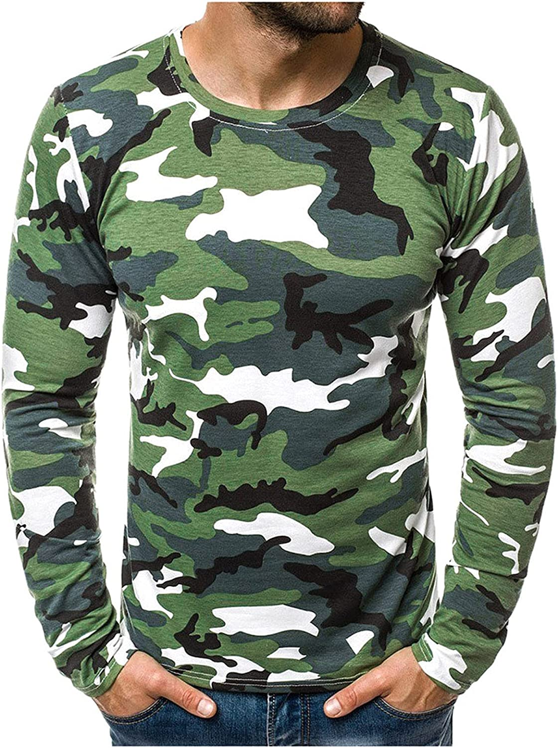 Long Sleeve Work Shirts for Men Classic Tee Summer Slim Casual Camouflage Printed T-Shirt Top Blouse