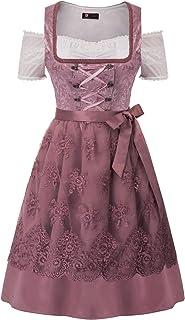 KANCY KOLE Women`s German Dirndl Dress 3-Pieces Costumes for Bavarian Oktoberfest Carnival Halloween S-XXL