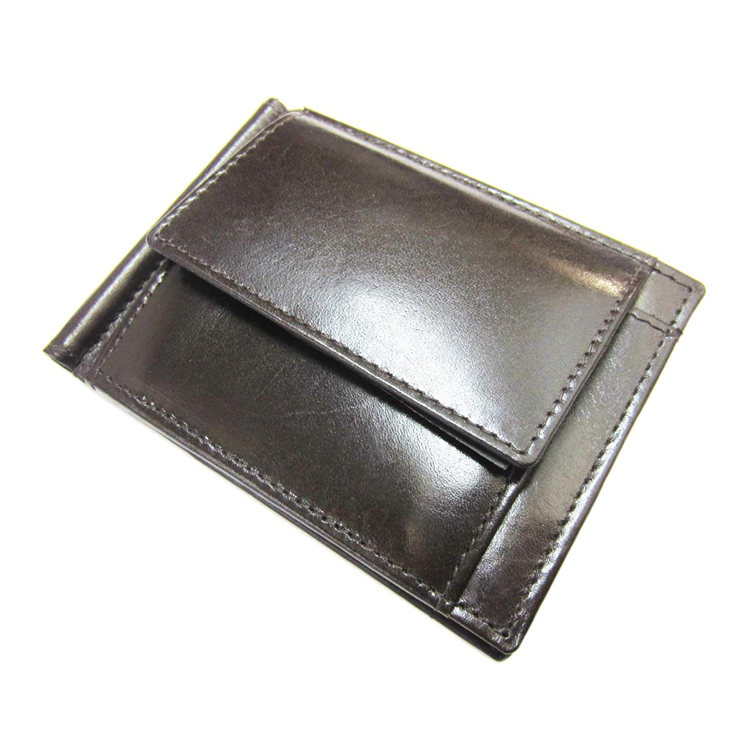 フリースハブブほんのマネークリップ 小銭入れ付き すっきり 札ばさみ 折財布 本革