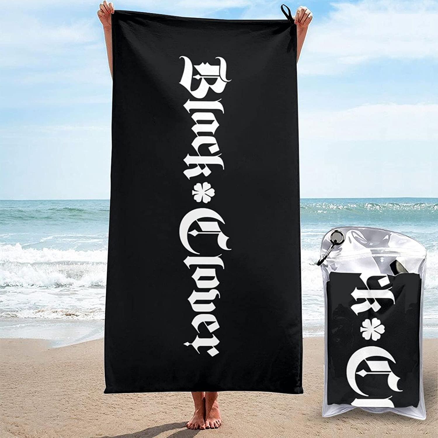 Black Free shipping anywhere in the nation Clover 3D Printed Large Beach are Shipping included Towels Quick- Sand-Free