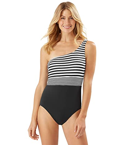 Tommy Bahama Breaker Bay One Shoulder One-Piece (Black) Women