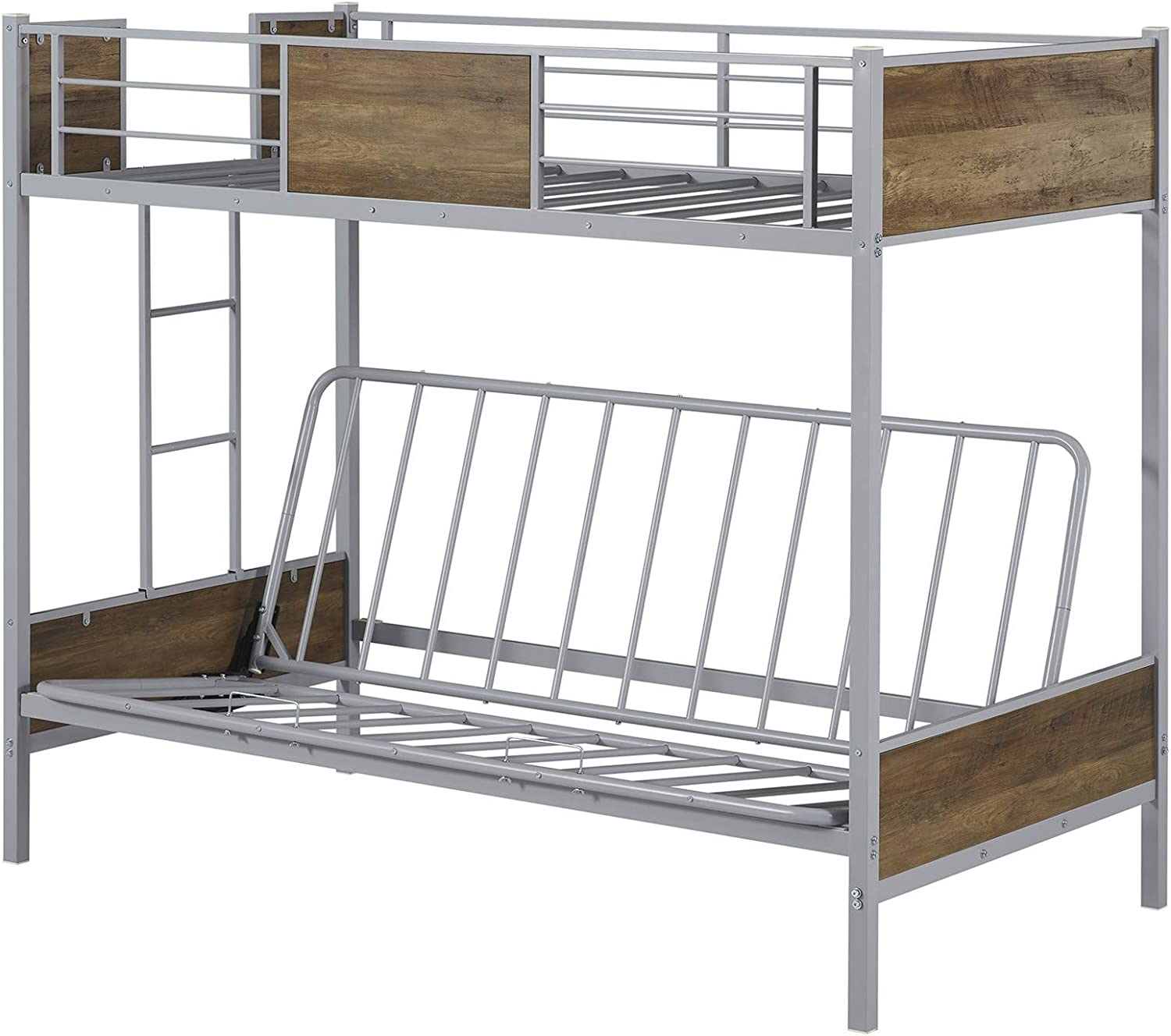 Buy Bunk Bed With Futon Twin Over Futon Bunk Bed Easy Conversion To Twin Over Full Bunk Beds Metal Futon Bunk Bed With Guardrails And Ladder Silver Online In Turkey B08wwmxyjc