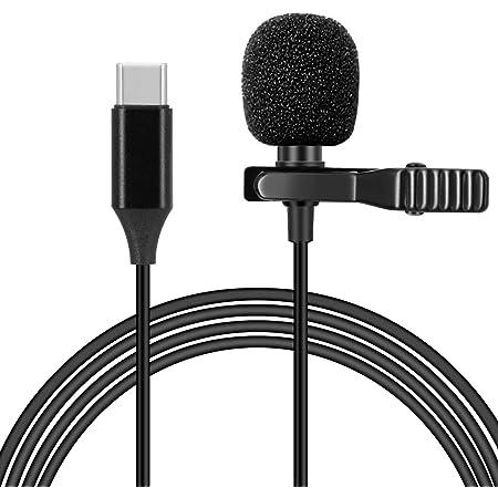 Hearkey コンデンサーマイク Type-Cマイク ピンマイク USB-C クリップ式 全方向性 高音質 ミニ スマホマイク 1.5m長さケーブル 防風 小型 録音/カラオケ/撮影/YouTube動画/インタビュー/会議用マイク