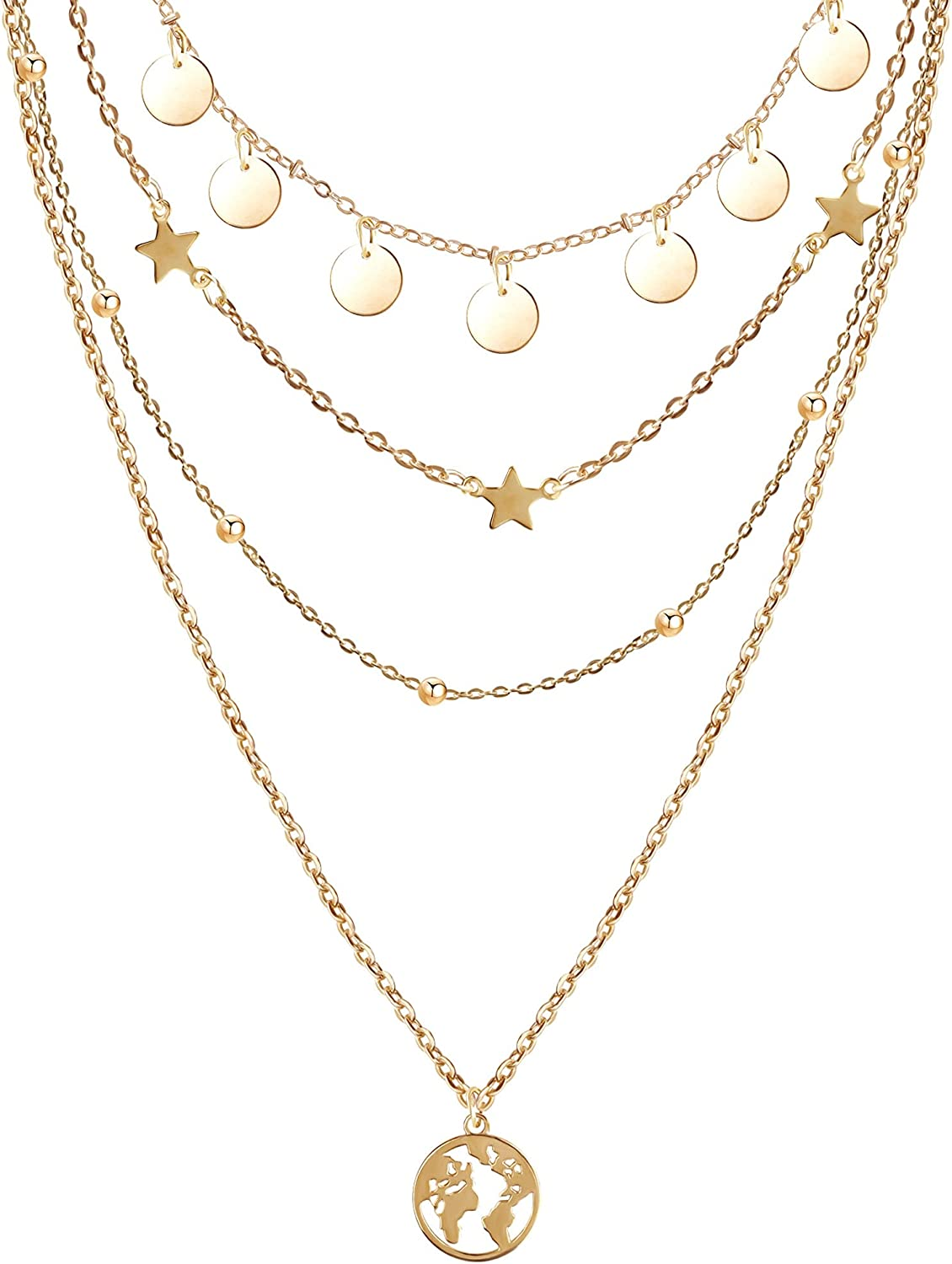 MISS RIGHT Dainty Layered Chain Necklaces for Women Girls 14K Gold Plated, Pearl Coin Medallion Padlock Pendants Layering Choker Necklace