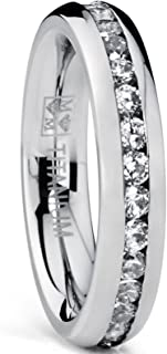 4MM High Polish Ladies Eternity Titanium Ring Wedding Band with Cubic Zirconia CZ Sizes 4 to 9