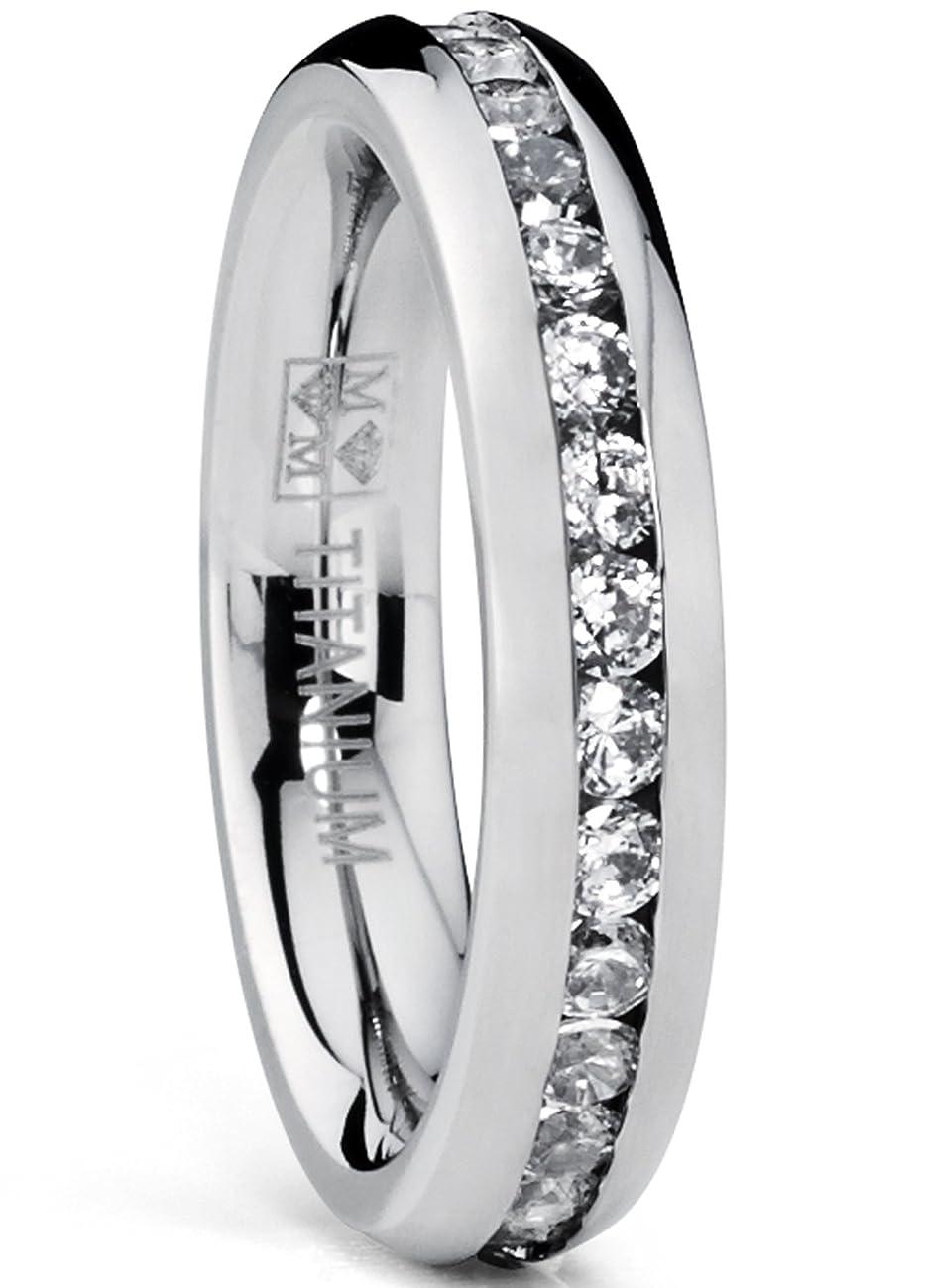 4MM High Polish Ladies Eternity Titanium Ring Wedding Band with Cubic Zirconia CZ Sizes 4 to 9