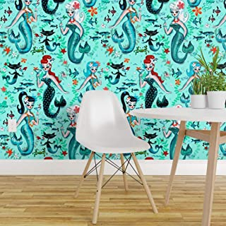 Spoonflower Pre-Pasted Removable Wallpaper, Mermaids Retro Cocktail Cat Starfish Aqua Mermaid Vintage Martini Kistch Mod Print, Water-Activated Wallpaper, 24in x 108in Roll